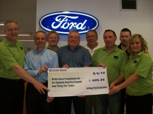Ford Fair committee present cheque to British Heart Foundation for £605.35 for funds raised at the 2010 show.